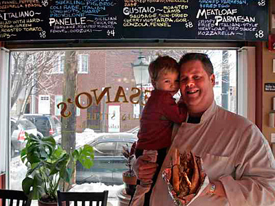 Peter McAndrews with son Nicholas at Paesano´s, soon to become Mansu. (Bonnie Weller / Staff) File photo