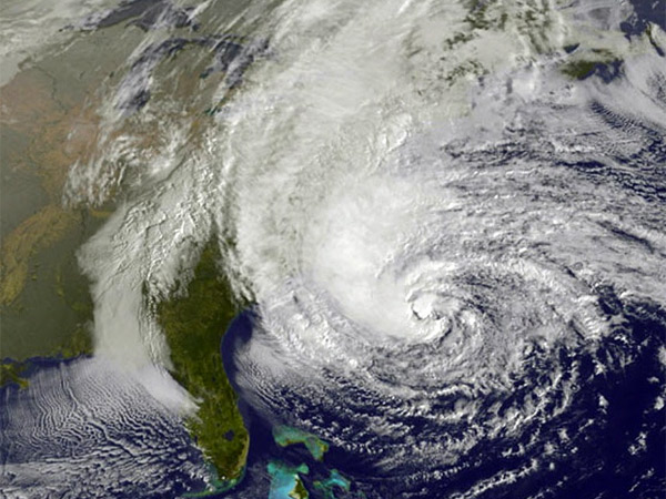 This satellite image taken Oct. 28, 2012 shows the massive size of Hurricane Sandy as it moved northward on a course that resulted in devastation, especially in New Jersey and New York. (AP Photo/Weather Underground)