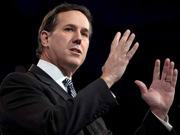 Former Pennsylvania Sen. Rick Santorum gestures as he speaks at the 40th annual Conservative Political Action Conference in National Harbor, Md. on Friday, March 15, 2013. (AP Photo/Jacquelyn Martin)