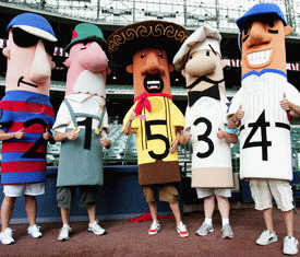 The Hot Dog (4) won the Sausage Race today at Miller Park.