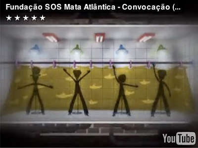 "A capture from ""Fundação SOS Mata Atlântica - Convocação (Xixi no banho),"" a Brazilian video encouraging people to pee in the shower to conserve water."