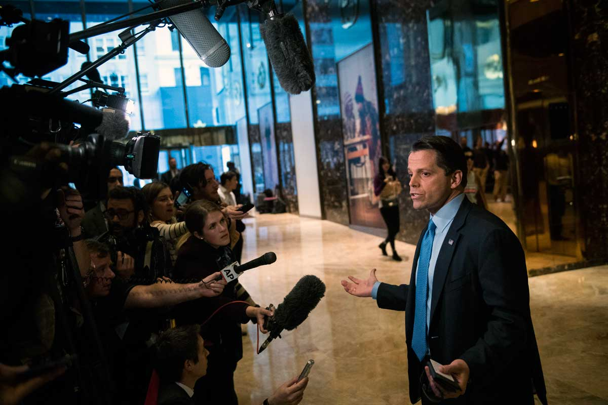Anthony Scaramucci, who served on President-elect Donald Trump´s transition team executive committee, talks with media at Trump Tower in New York on Nov. 17, 2016.