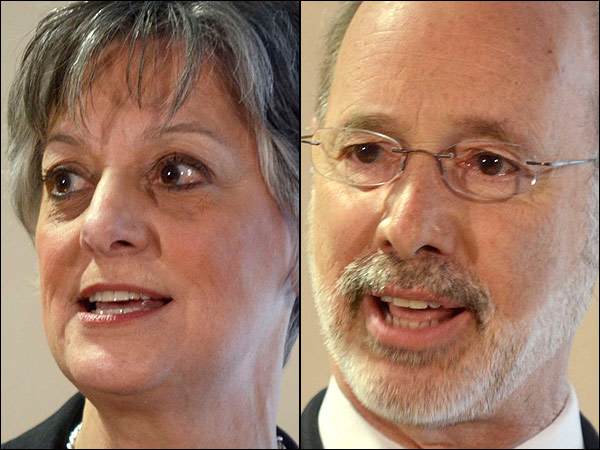 U.S. Rep. Allyson Y. Schwartz challenged businessman Tom Wolf to disclose details of a $4 million bank loan he obtained for his campaign during a sometimes-tense debate Wednesday among Democratic candidates for governor. (File photos)