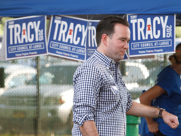 Republicans gathered Sunday afternoon in Northeast Philadelphia for the 31st Annual Billy Meehan Clambake, named for the late party chairman. Philadelphia City Council at-large candidate Terry Tracy at Cannstatter spoke to people as they passed his booth at Volkfest Verein on Academy Road. (CHARLES FOX / Staff Photographer)