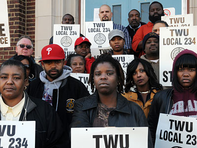 SEPTA workers on strike at the Southern Depot. (Sarah J. Glover / Staff Photographer)