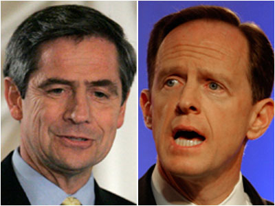 U.S. Rep. Joe Sestak [left] takes on former U.S. Rep. Pat Toomey in the race for the U.S. Senate today.