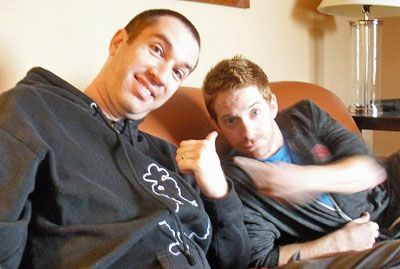 Matt Senreich and Seth Green chilling in their Philly hotel.