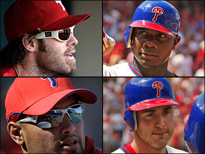 Jayson Werth (from top left), Ryan Howard, Chase Utley and Shane Victorino are among the members of the Phillies team that some fans are finding sexy.
