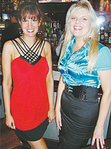 "Sexy Single Linda Leone (left) and friend Julie Bryngelson attended Thursday's ""Sex and the City"" party at McFadden's on North 3rd Street.<br /><br />"