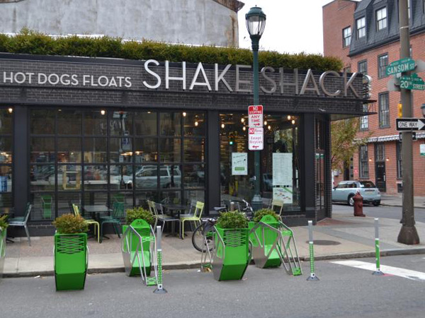 Shake Shack bike corrals.