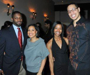 "Sheinelle Jones (second from left) with husband Uche Ojeh and Janita ""Applebaum"" Styles and Jessiah Styles at the opening of Union Trust in February. (Photo: HughE Dillon)"