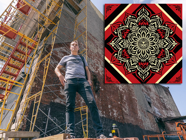 Shepard Fairey stands in front of the Fishtown wall where his mural Lotus Diamond (design in inset) will be unveiled Friday, Aug. 8.