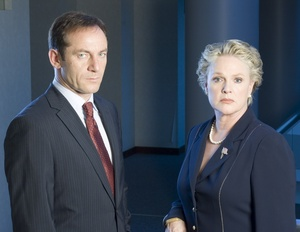 "Sharon Gless stars as U.S. secretary of defense and Jason Isaacs as the British ambassador in the mini-series ""The State Within."""