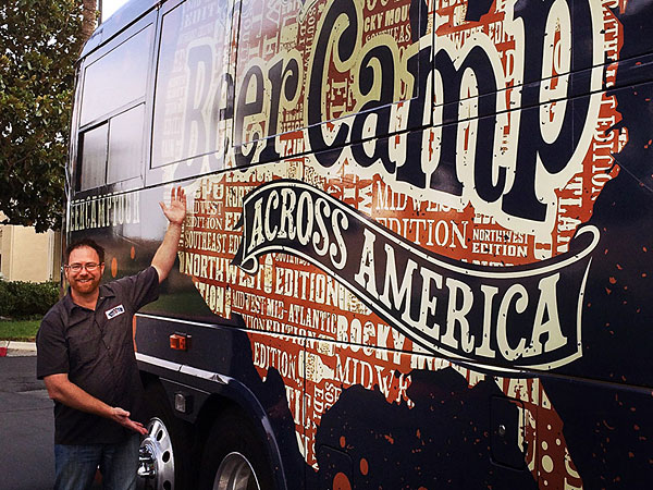 Bill Covaleski and the Sierra Nevada Beer Camp bus.