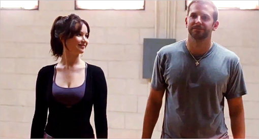 Jennifer Lawrence and Bradley Cooper go through their Silver Linings Playbook.