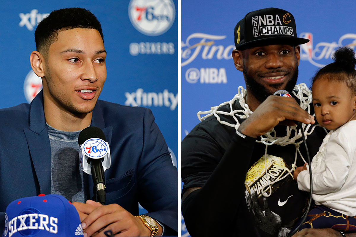 Ben Simmons (left) and LeBron James.