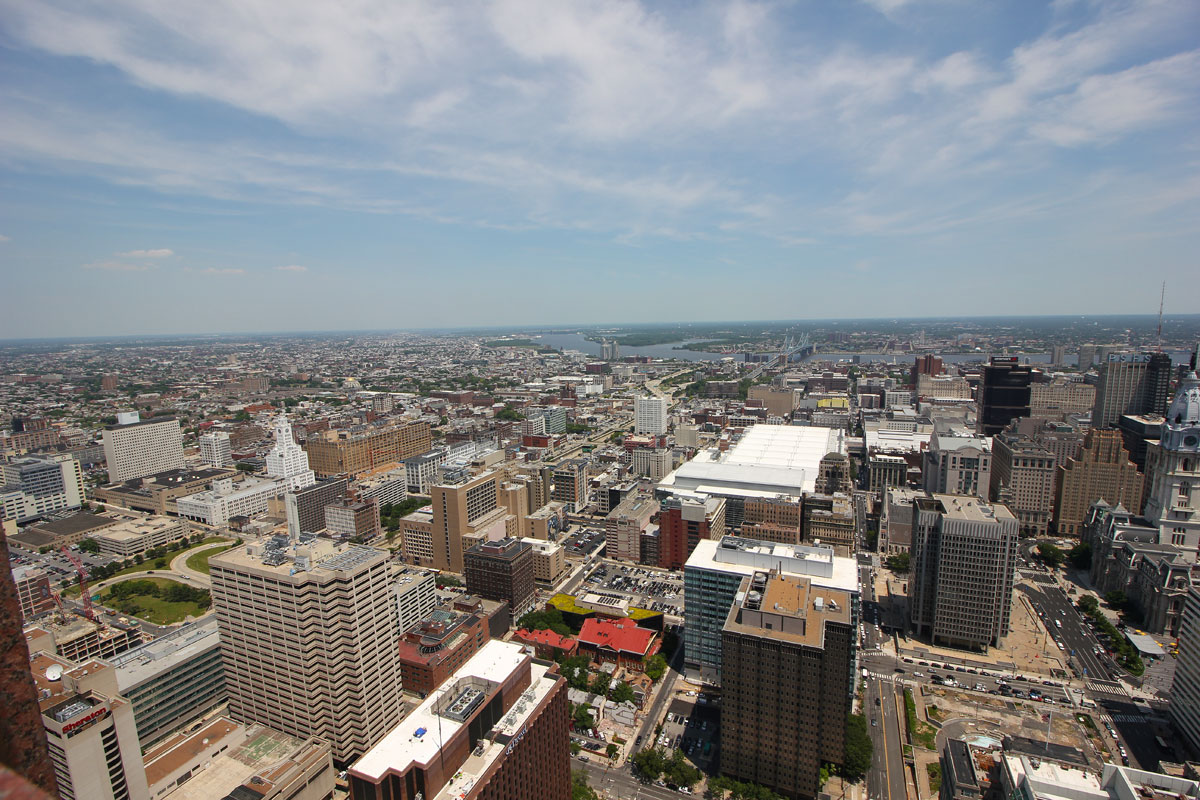An east/northeast view from SkyGarten at Top of the Tower, 1717 Arch St.