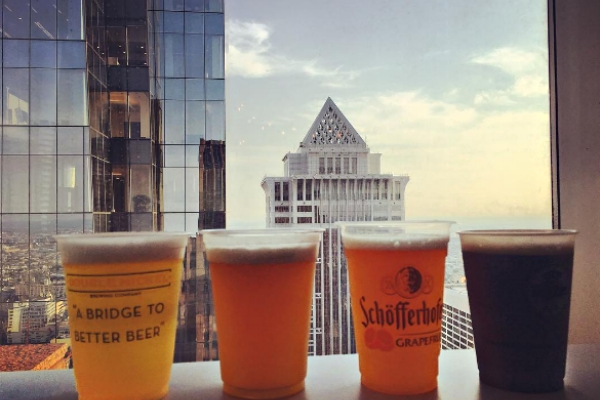 Beer with a city vu, from SkyGarten at 1717 Arch St.