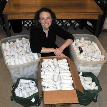 Beth Terry with Brita water pitcher filters she´s ready to return for recycling.