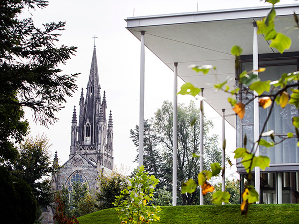 On Thursday October 3, 2013, Irvine Memorial Chapel, left and Burgin Center for the Arts, right, at Mercersburg Academy, which is benefiting from a generous gift of $100 million from alumnus Deborah Simon. It´s the second highest gift to an independent school. ( Ed Hille / Staff Photographer )
