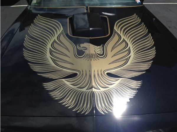 """In the 1977 film """"Smokey and the Bandit, while actors Burt Reynolds, Sally Field, Jackie Gleason and Jerry Reed add much to the proceedings, the picture´s greatest star didn´t receive any billing: the black 1977 Pontiac Trans Am decorated in gold stripes with a thunder chicken decal on its hood, and driven by Reynolds. (MCT)"""