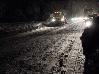 A plow near Princeton early this morning, demonstrating how dangerous darkened roads were throughout the region.  It is unrelated to the fatal incident in Wilmington. (AP Photo/Mel Evans)