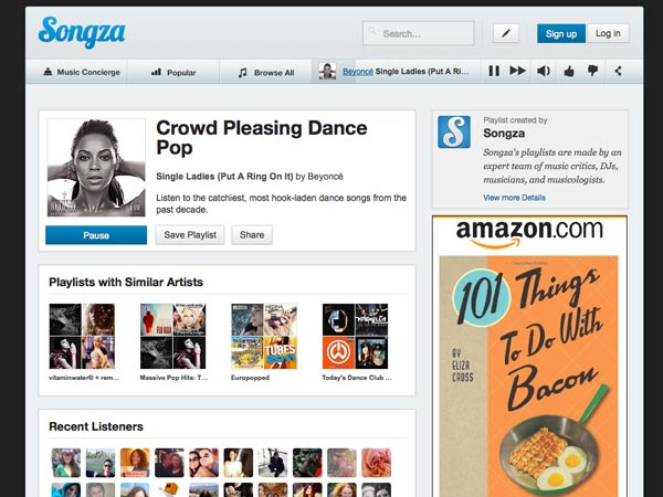 The Songza site presents curated playlists free, and free of audible ads.