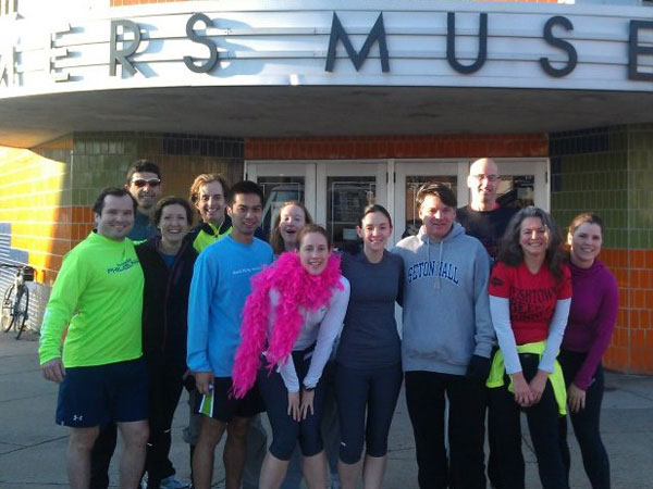 South Philly Striders outside the Mummers Museum for their annual New Year´s Day parade run.