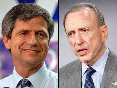 Sen. Arlen Specter (right) led Rep. Joe Sestak in the Democratic primary, according to a recent Quinnipiac University poll of likely primary voters. (File photos)