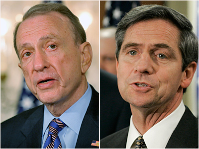A poll released today shows that Pennsylvania´s Democratic primary for U.S. Senate is too close to call. Five-term Sen. Arlen Specter (left) is being challenged by U.S. Rep. Joe Sestak.  (File photos)