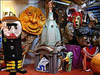 Some of the sculptures and puppets at Spiral Q headquarters.