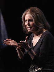Steinem speaks with reporters at Television Critics Association meetings in July