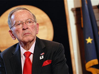 Sen. Ted Stevens, R-Alaska, listens to questions from members of the Capitol press corps., following his address of the state legislature, in Juneau, Alaska (AP Photo/Chris Miller, File).