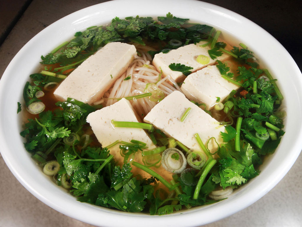 Mushroom pho at Stock, among the beef-free options, has rice noodles and exotic Vietnamese spice, and packs an umami punch. (DAVID M WARREN / Staff Photographer)