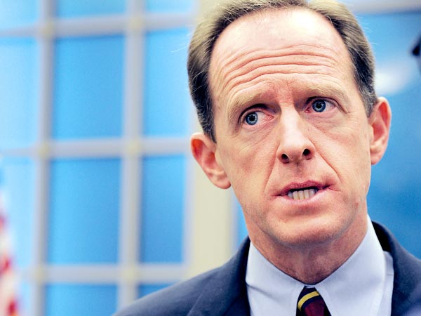 FILE - At the Lower Merion Township building in Ardmore Senator Pat Toomey visited to talk about his Had Enough services program.  ( Sharon Gekoski-Kimmel / Staff Photographer )