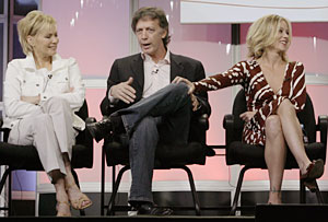 "Actress Jean Smart, left, executive producer Donald Todd, center, and actress Christina Applegate of the new television comedy ""Samantha Who?"" take questions from the television critics."