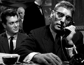 "Tony Curtis (left) listens to Burt Lancaster in ""Sweet Smell of Success"": ""You´re dead, son. Go get buried."""