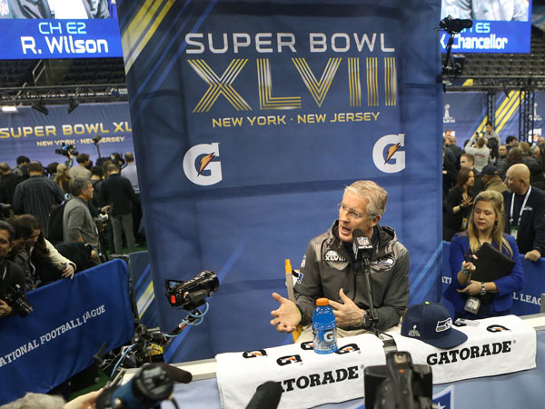 Head coach Pete Carroll of the Seattle Seahawks answers questions during media day for Super Bowl XLVIII at the Prudential Center in Newark, N.J., on Tuesday, Jan. 28. 2014. (Brian Branch Price/MCT)