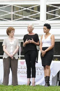 Photo courtesy Andrei Jackamets of Bravo: Pictured:  Left to right:  Kathleen Coyne, program director of Cancer Support Community,  Tabatha Coffey, and Aisha McKenzie, salon owner.