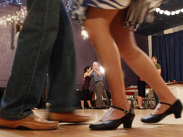 Students of Tango class are taking steps during the Tango Lesson at the Ruba Club in Northern Liberty. ( AKIRA SUWA  /  Staff Photographer )