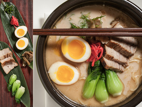 Morimoto´s tonkotsu ramen is a rich soup of pork broth, scallion, pickled red ginger, soy-marinated egg, pickled turnip, bork belly, and bok choy.  ( Matthew Hall / Staff Photographer )