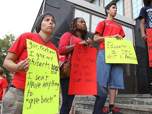 Members of the Philadelphia Federation of Teachers protest budget cuts earlier this month.