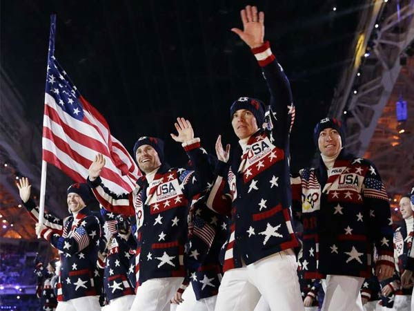 Team USA arrives at the opening ceremony of the 2014 Winter Olympics in Sochi, Russia.