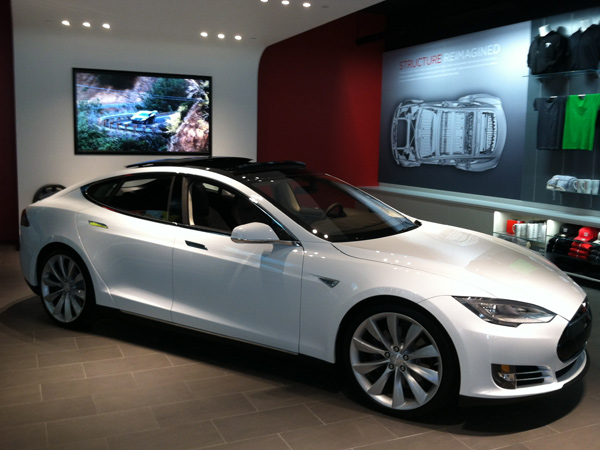 One of the two Tesla Model S sedans on display in the showroom at the Plaza of King of Prussia, which opened Friday, May 17, 2013.