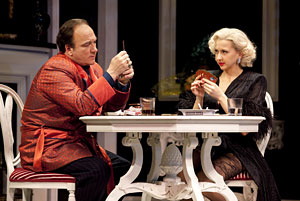 "Jim Belushi, left, and Nina Arianda in ""Born Yesterday."" (AP Photo/Richard Kornberg & Associates, Carol Rosegg)"