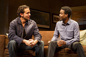 "Bobby Cannavale, left, and  Chris Rock in ""The Motherf----- With the Hat."" (AP Photo/Boneau/Bryan-Brown, Joan Marcus)"