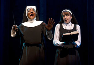 "Patina Miller, left, and Marla Mindell in the Broadway musical ""Sister Act."" (AP Photo/The Harman Group, Joan Marcus)"