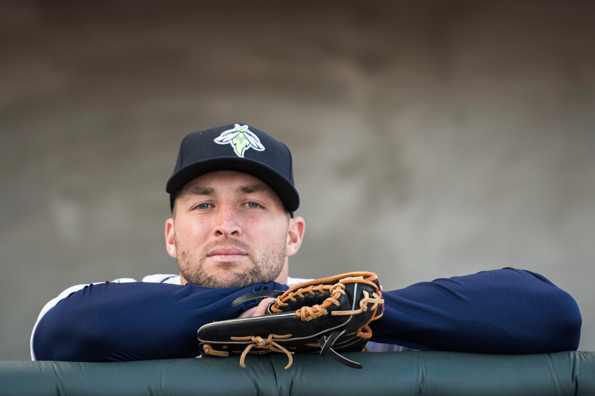 Columbia Fireflies outfielder Tim Tebow, seen here in an April 6. game, has a surprising run-in with a New Jersey fan after hitting him in the crotch with an errant throw.