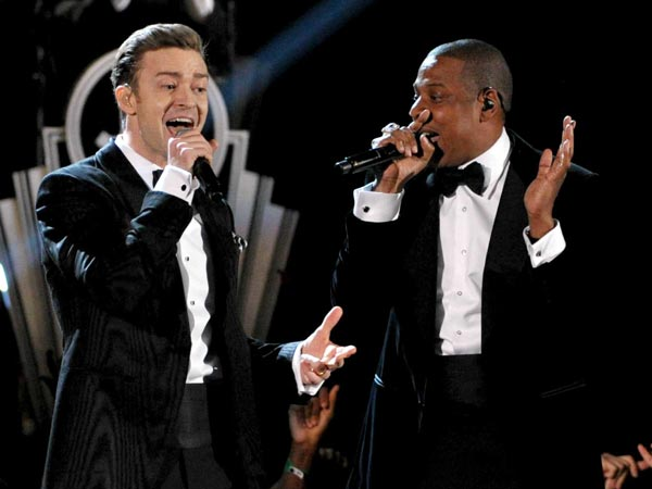 FILE - This Feb. 10, 2013 file photo shows recording artists Just Timberlake, left, and Jay-Z performing at the 55th annual Grammy Awards in Los Angeles. The two will be performing at Citizens Bank Park on Tuesday.(Photo by John Shearer/Invision/AP, file)