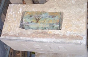 The  time capsule, a greenish copper box found  inside a cornerstone, will be opened Monday at Lower Merion High School.